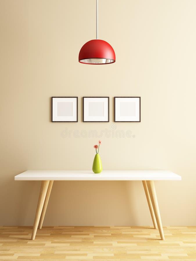 现代白色桌和框架图片 库存例证