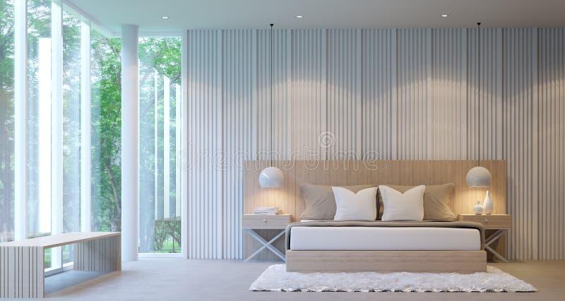 现代白色豪华卧室 向量例证