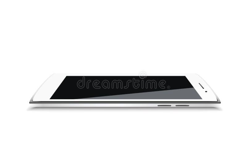 现代白色高度详述了传染媒介智能手机顶视图 皇族释放例证