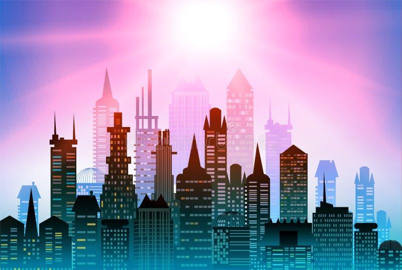 现代的大厦 城市背景由许多大厦剪影做成 皇族释放例证