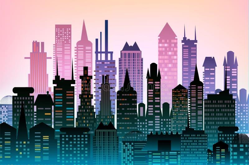 现代的大厦 城市背景由许多大厦剪影做成 库存例证
