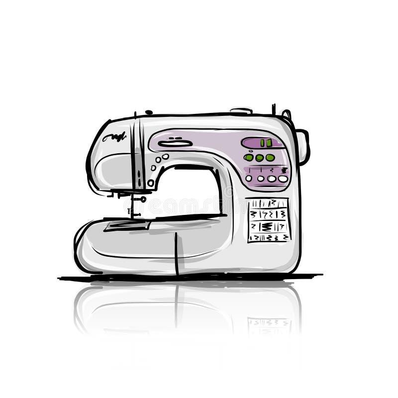 现代的缝纫机,您的设计的tro剪影 皇族释放例证
