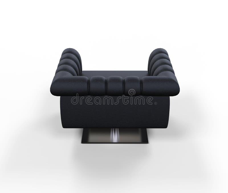 现代黑皮革扶手椅子-后面看法 皇族释放例证