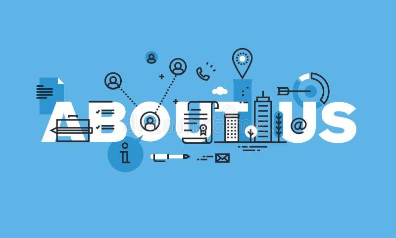 现代稀薄的线大约我们的设计观念网站横幅 导航基本的公司或个人信息的例证概念 库存例证