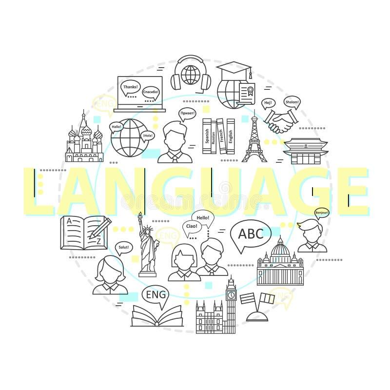 现代稀薄的线学会外语概念,语言训练学校 库存例证