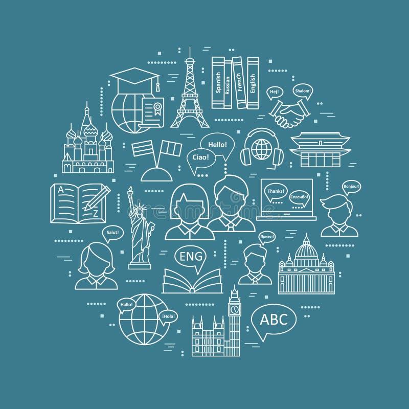 现代稀薄的线学会外语概念,语言训练学校 向量例证