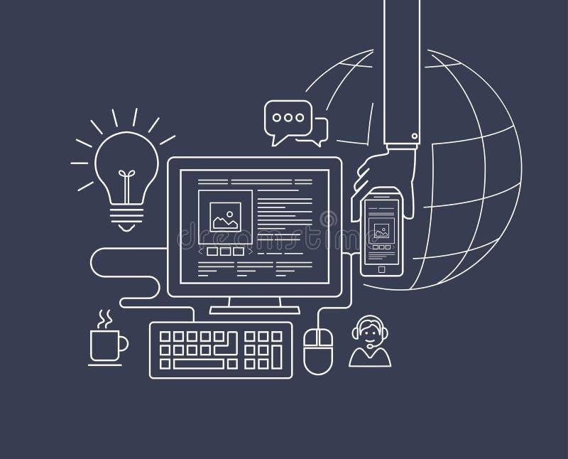 现代稀薄的线网络设计例证的平的设计 库存例证