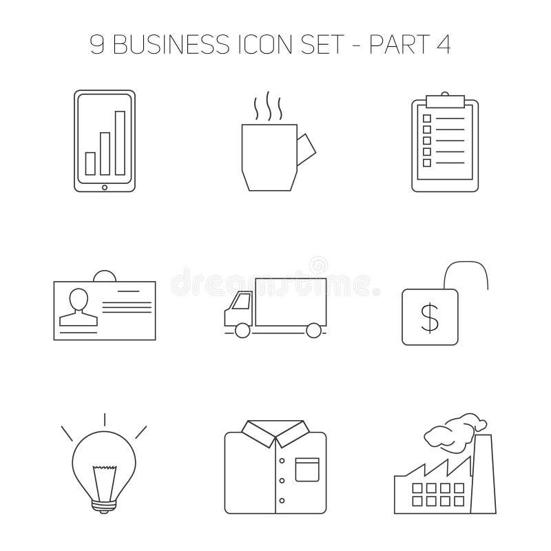 现代稀薄的线象设置了做生意 库存例证