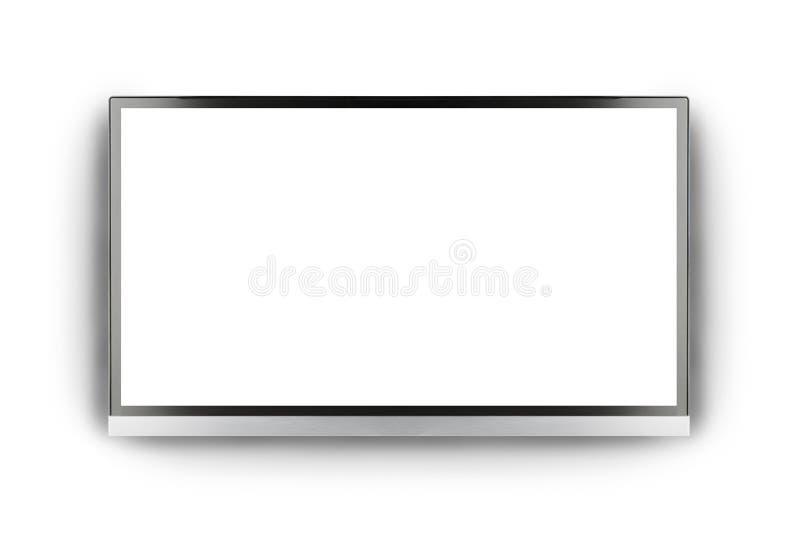 现代空白的平面屏幕电视机 向量例证