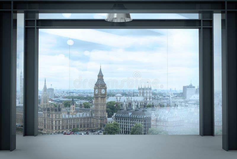 现代空的办公室内部内部空间与伦敦市的 免版税库存照片