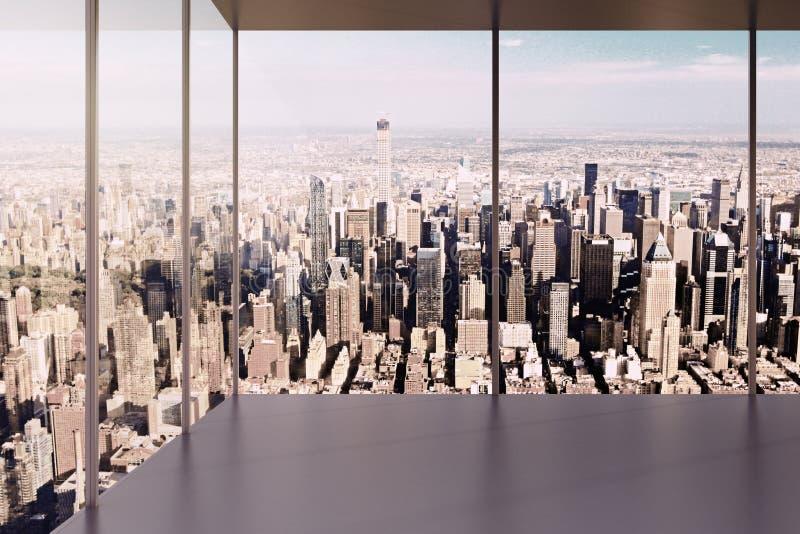 现代空的办公室内部有美丽的景色 库存照片