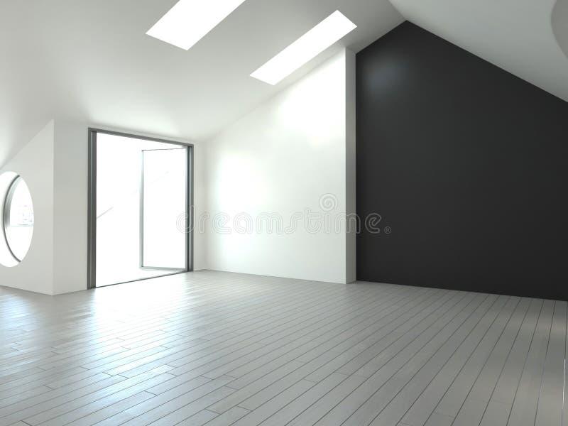 现代空的室|建筑学内部 皇族释放例证