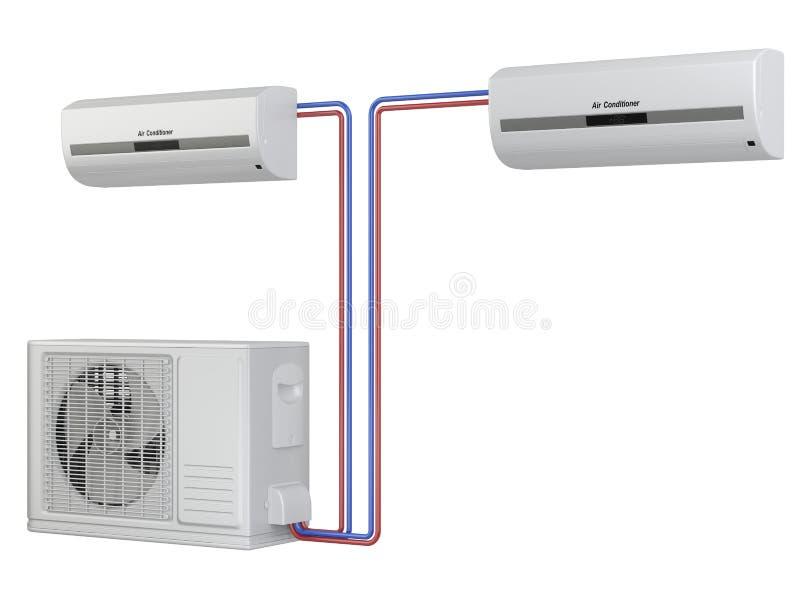 现代空调器系统 设备的设施 向量例证