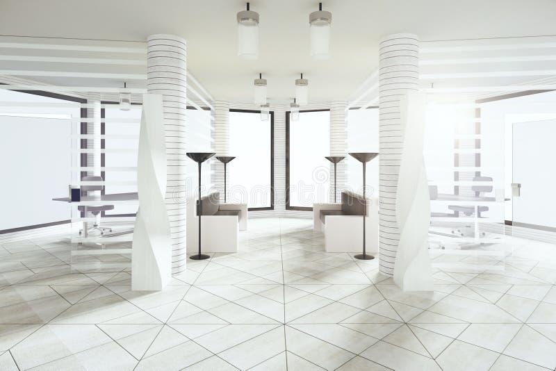 现代等待的大厅在有大窗口的白色样式办公室 向量例证