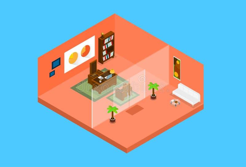 现代等量办公室工作场所室内部的顶视图3d 向量例证