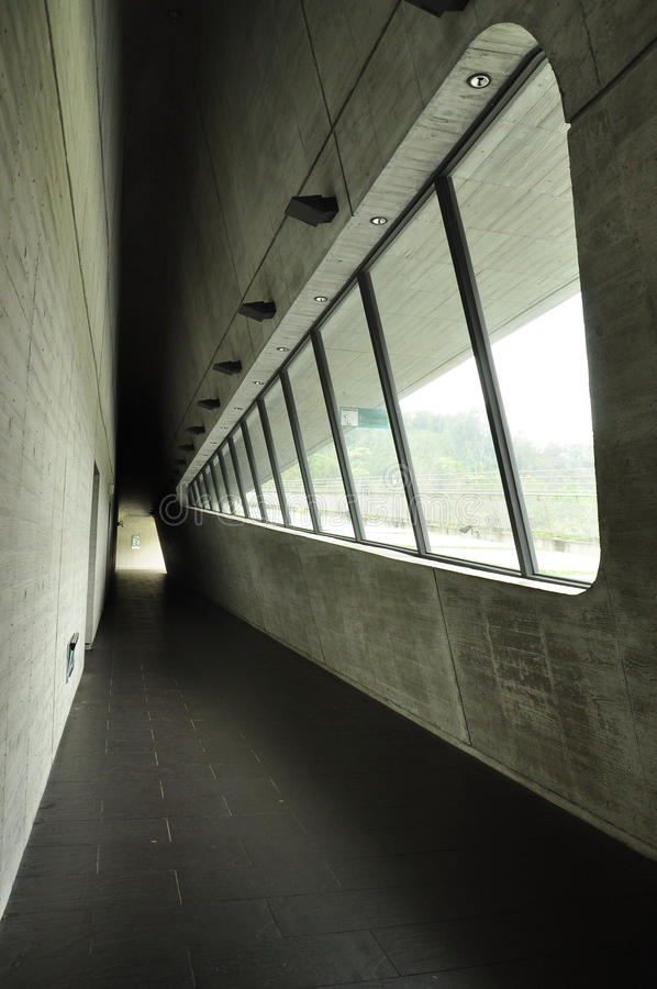 现代建筑学在台湾 室内走廊 免版税图库摄影