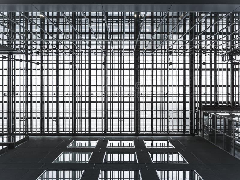 现代建筑学详述金属框架建筑样式 库存图片