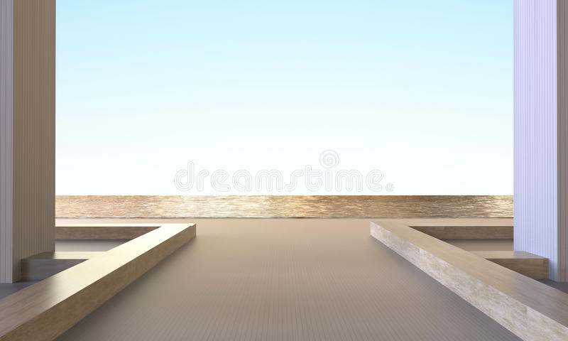 现代简单的海滩休息室和椅子最小的露天场所在海和天空 向量例证