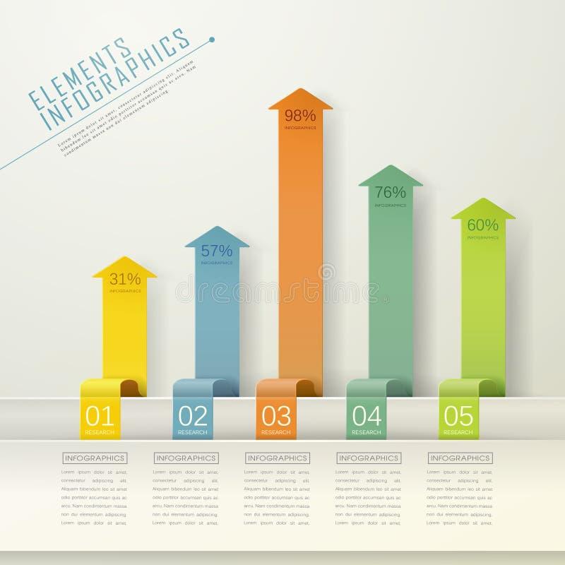 现代箭头长条图infographic元素 库存例证