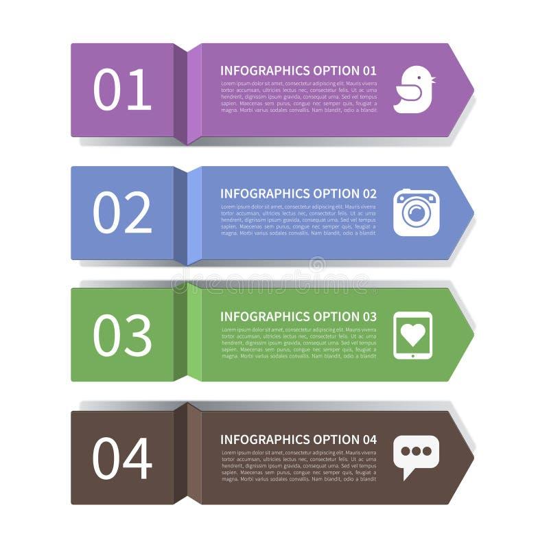 现代箭头infographic元素 向量例证