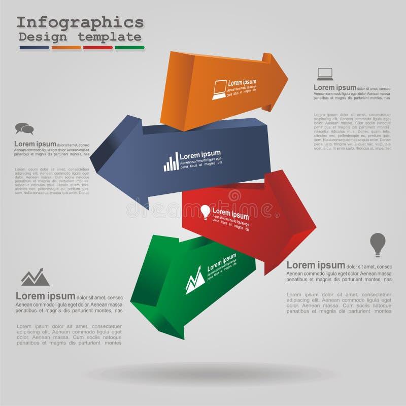 现代箭头infographics元素布局 向量 皇族释放例证