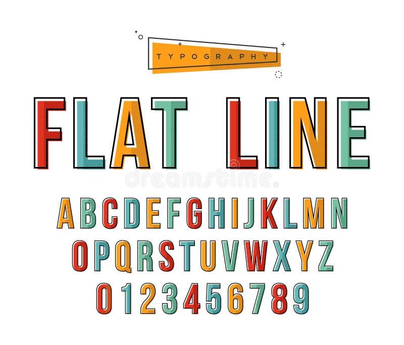 现代线艺术abc印刷术字母表汇集 向量例证