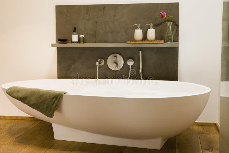 现代浴缸在卫生间里 免版税库存图片