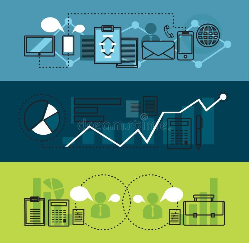 现代网络营销事务和办公室用工具加工平的线横幅 库存例证
