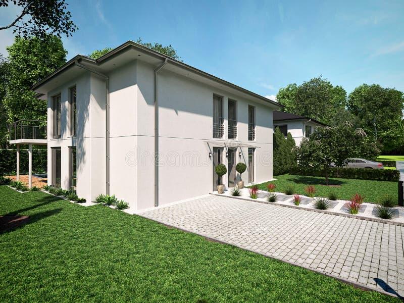 现代美丽的房子 3d翻译 库存图片