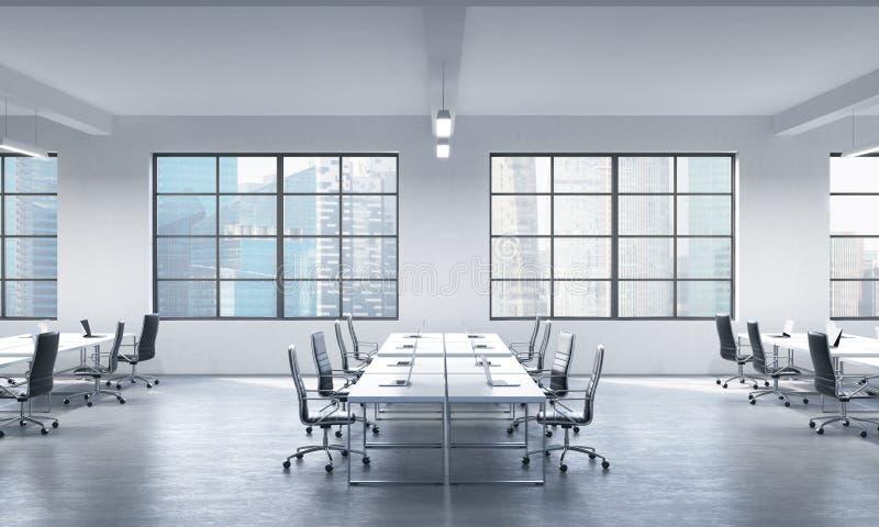 现代膝上型计算机或公司工作场所装备的会议室在一个现代全景办公室在新加坡 黑人皮革柴 皇族释放例证
