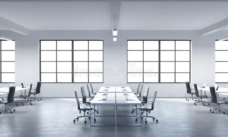现代膝上型计算机或公司工作场所装备的会议室在一个现代全景办公室用白色窗口 黑色leathe 库存例证