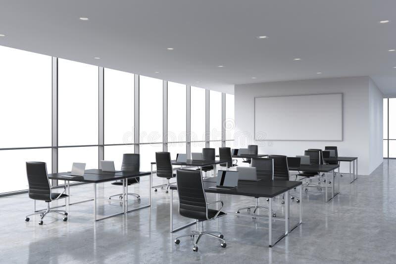 现代膝上型计算机装备的公司工作场所在一个现代全景办公室,白色拷贝空间在窗口里 皇族释放例证