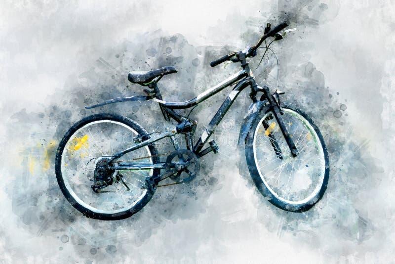 现代自行车数字式绘画,水彩样式 向量例证