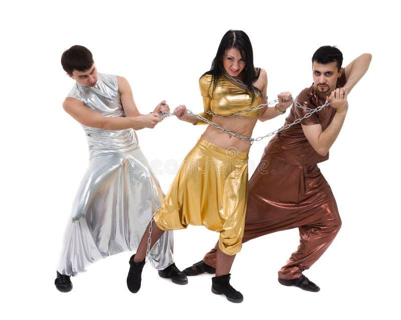 现代舞蹈家队跳舞,隔绝在全长的白色 免版税图库摄影