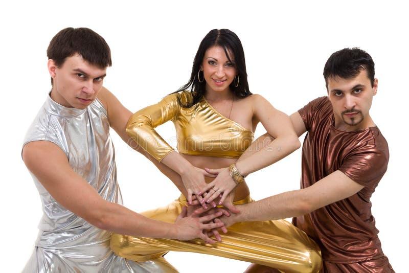 现代舞蹈家队跳舞,隔绝在白色 库存图片