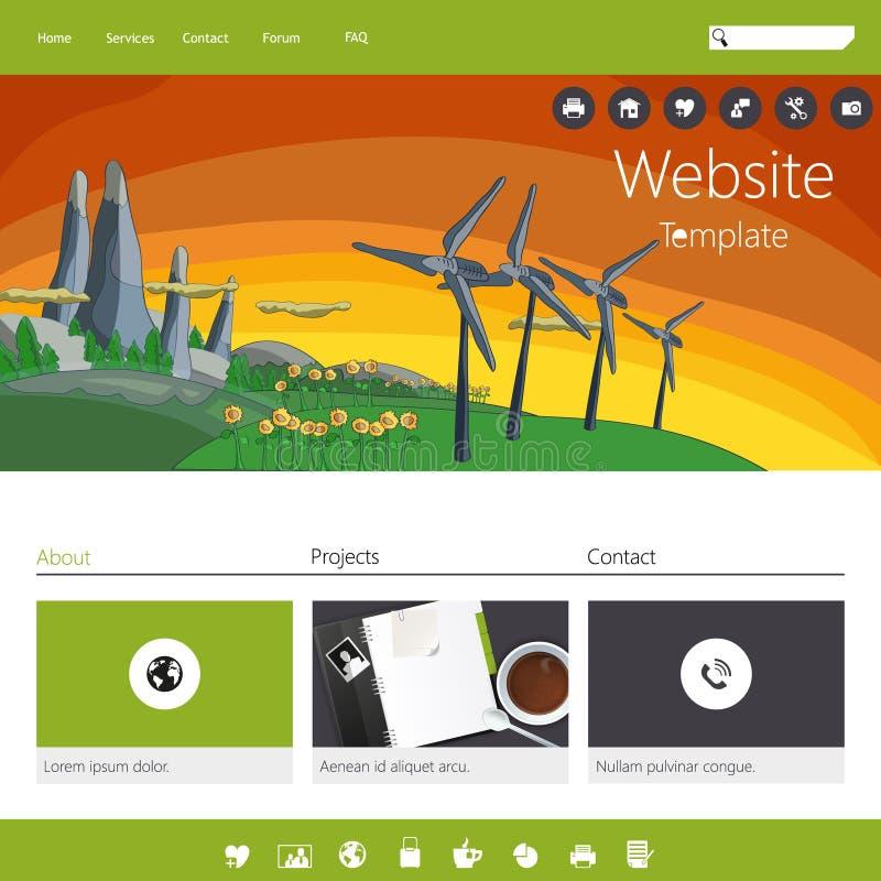 现代绿色eco网站 向量例证