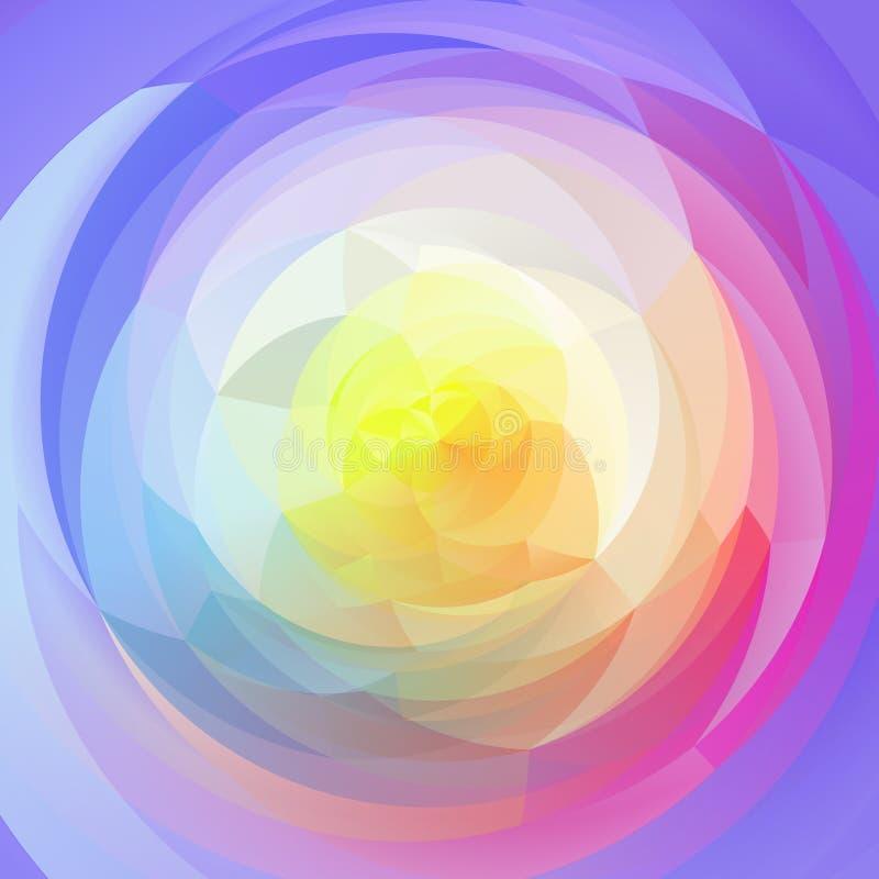 现代艺术几何漩涡背景-充分的色的光谱淡色彩虹 向量例证