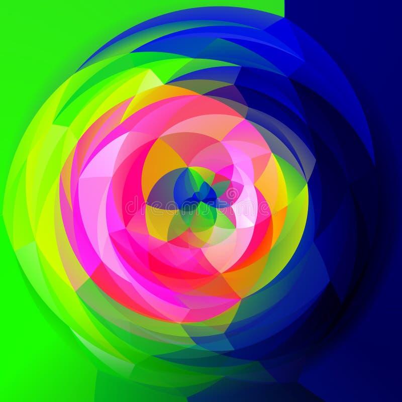 现代艺术几何漩涡背景-在下色的充分的光谱彩虹 皇族释放例证