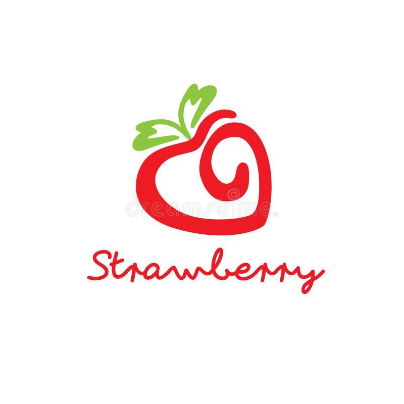 现代草莓象商标例证 向量例证