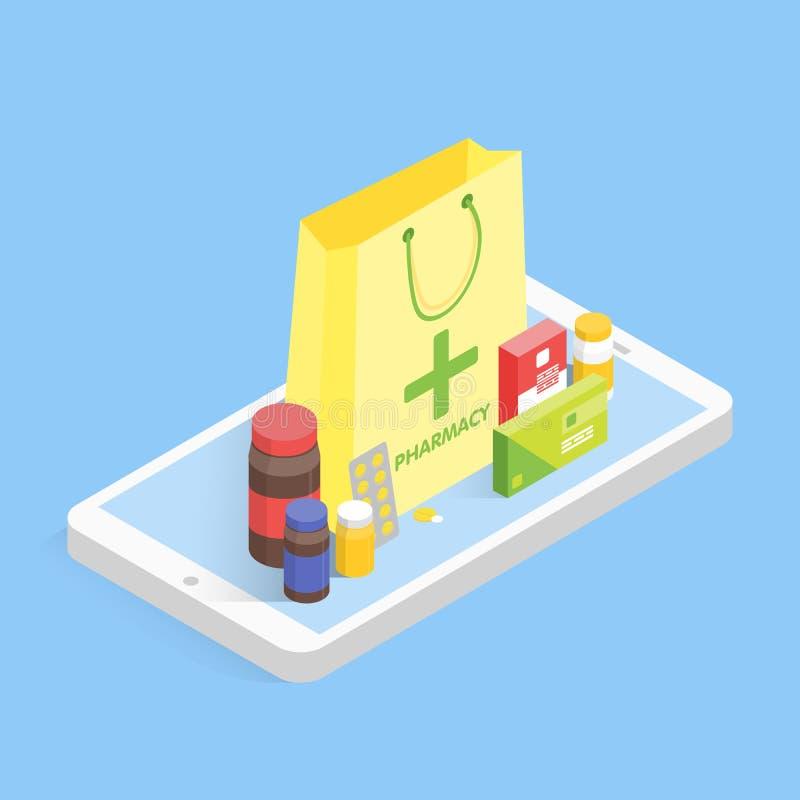 现代药房和药房概念 等量电话销售在网上服麻醉剂 传染媒介简单的例证 皇族释放例证