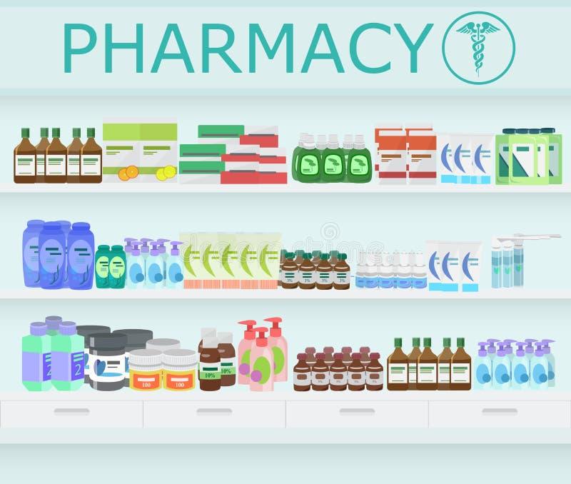 现代药房药房内部 药片和药物与维生素在药房搁置 向量例证
