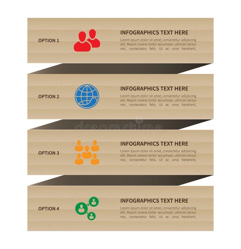 现代葡萄酒纸板infographic横幅 库存例证