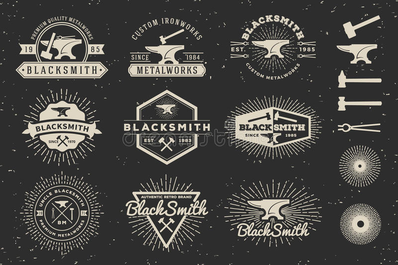 现代葡萄酒铁匠和金属制品徽章商标 向量例证