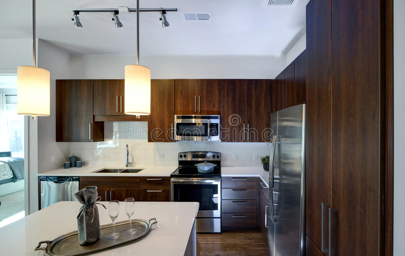 现代被改造的厨房 免版税库存图片