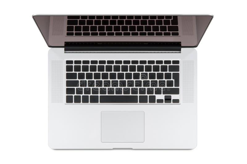 现代视网膜膝上型计算机顶视图。 图库摄影