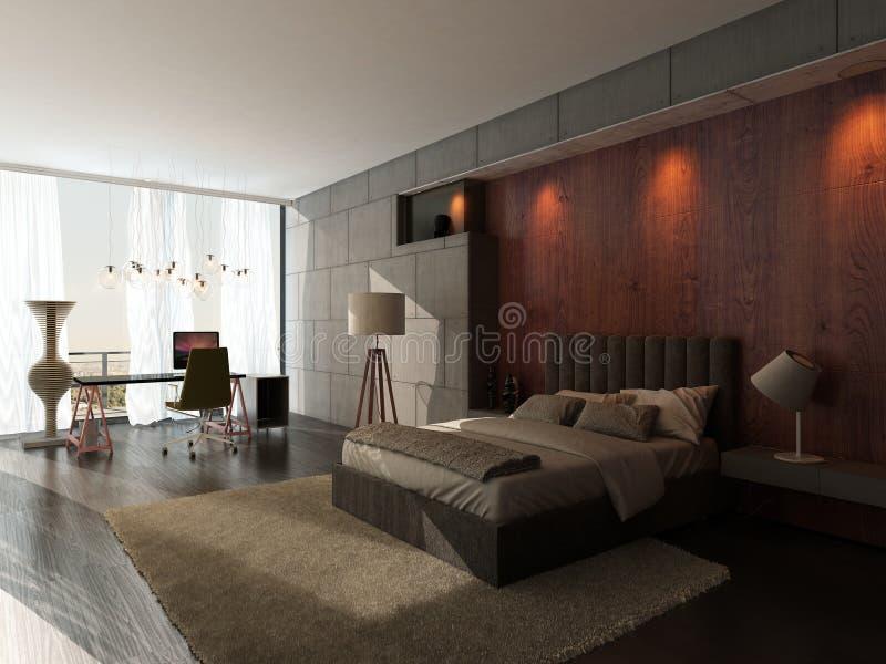 现代设计与木和石墙的卧室内部 库存例证