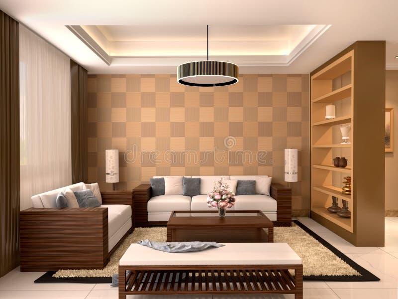 现代设计客厅温暖的颜色 库存照片