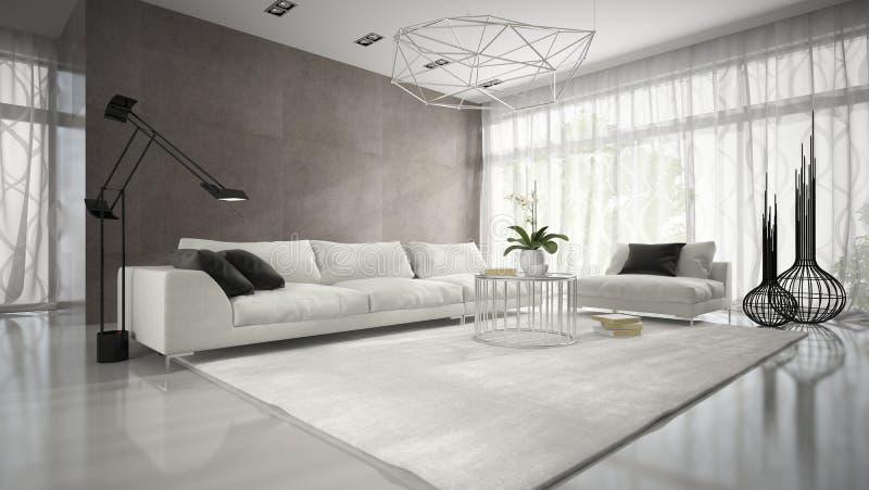 现代设计室内部有白色长沙发3D翻译的 图库摄影