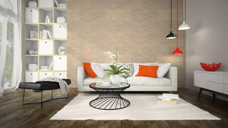 现代设计室内部有黄柏墙壁3D翻译的 免版税库存照片