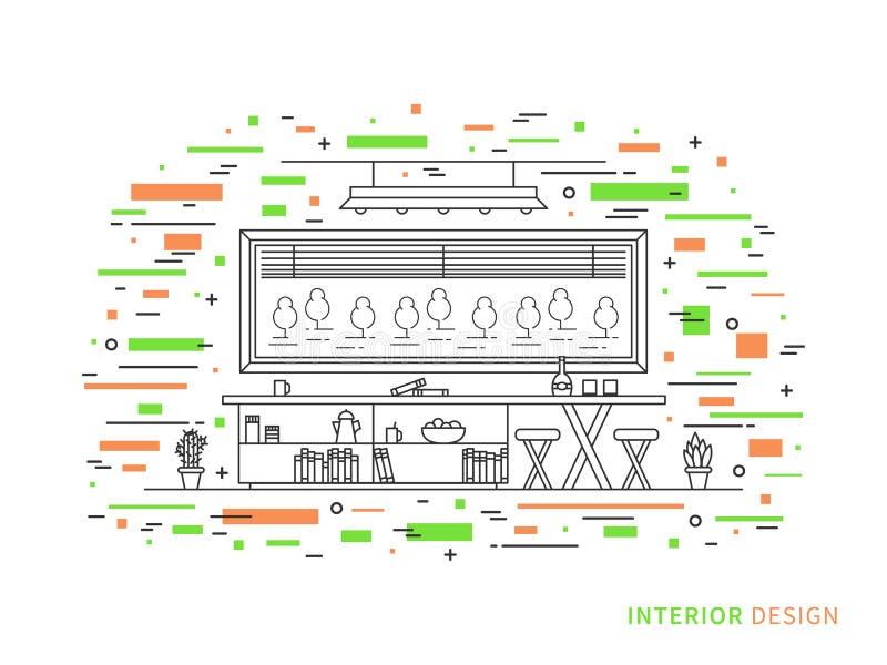 现代设计师客厅的线性内部例证 向量例证